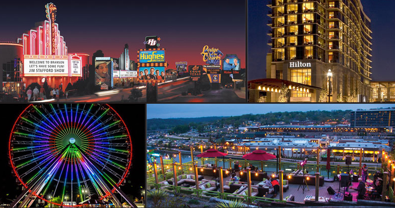 Night time shots of the Branson strip, Hilton hotel, ferris wheel, and rooftop bar.